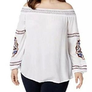 INC White Gauze Embroidered Off the Shoulder Top